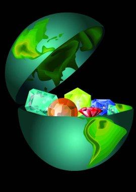 treasures of the earth. precious stones in the open globe