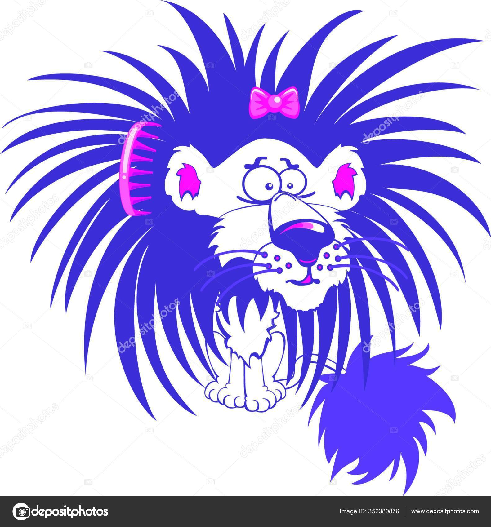 Crazy Purple Lion Character Bad Hair Day Stock Vector C Panthermediaseller 352380876