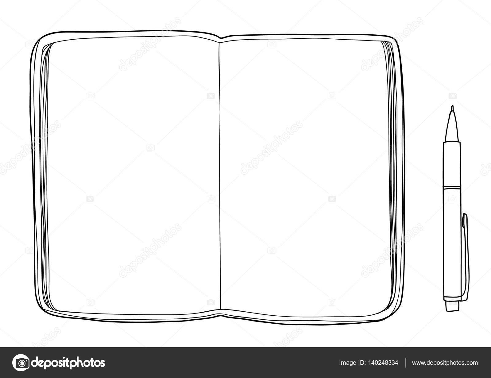 Notizbuch Skizzenbuch Mockup leeres Papier und Stift Hand gezeichnet ...