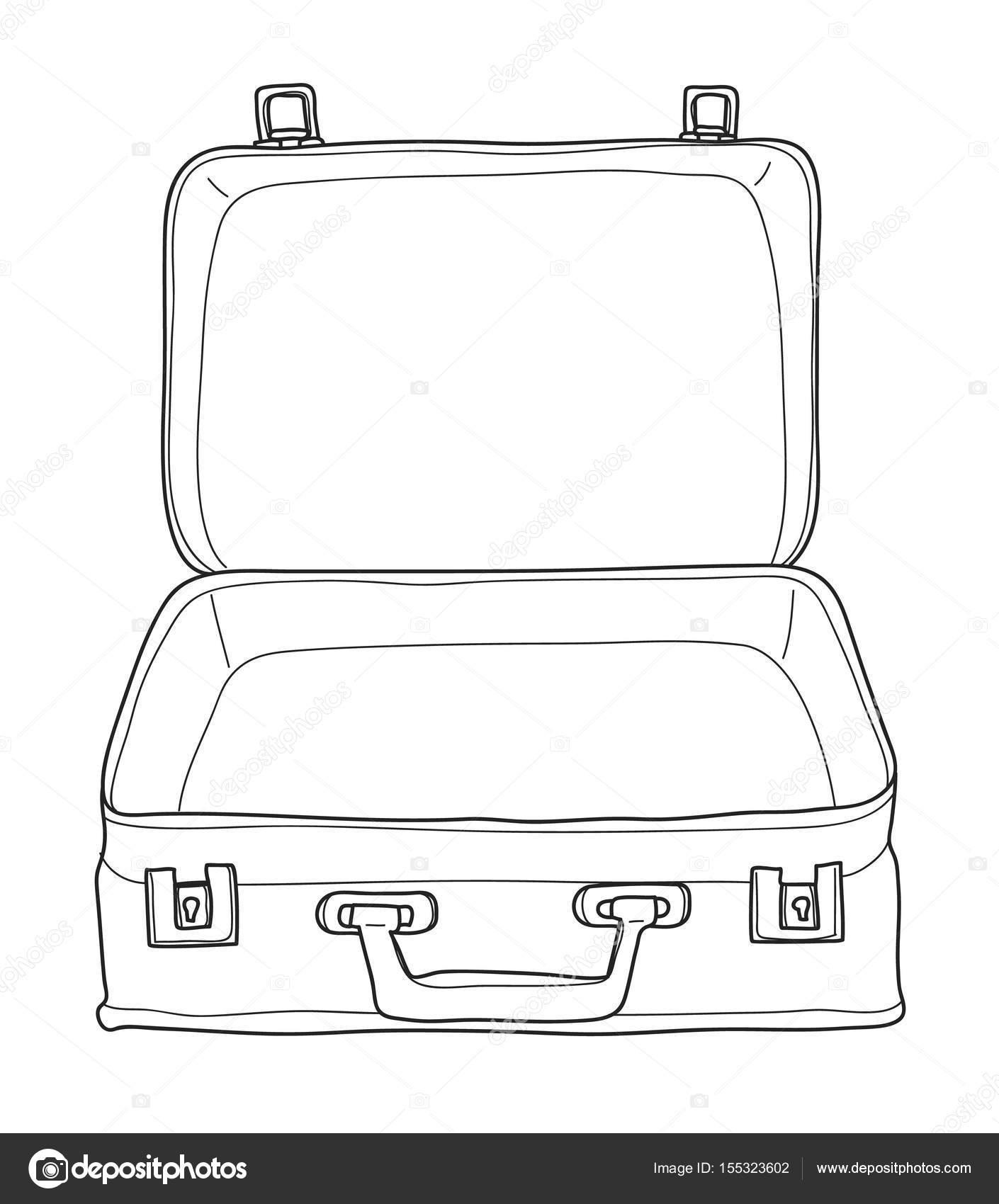 koffer gepäck vintage hand gezeichnet niedlich vektor