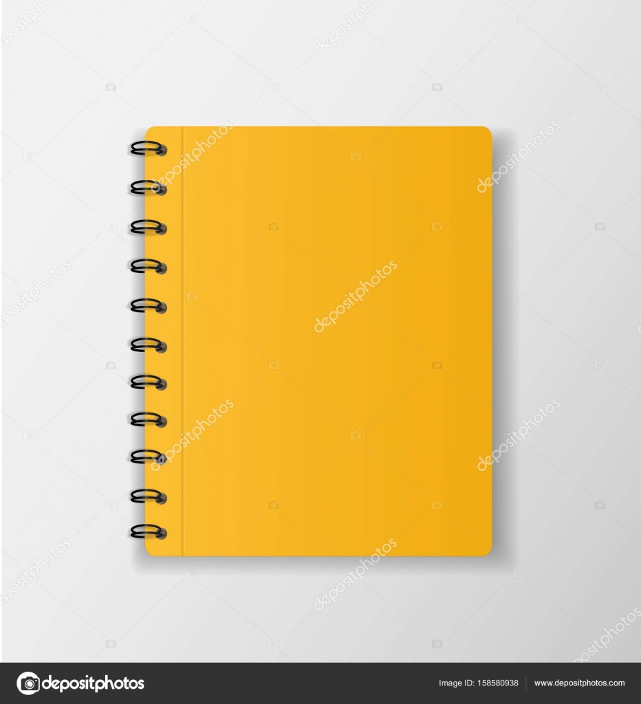 Yellow Notebook On White Background Blank Paper Cover Vector I