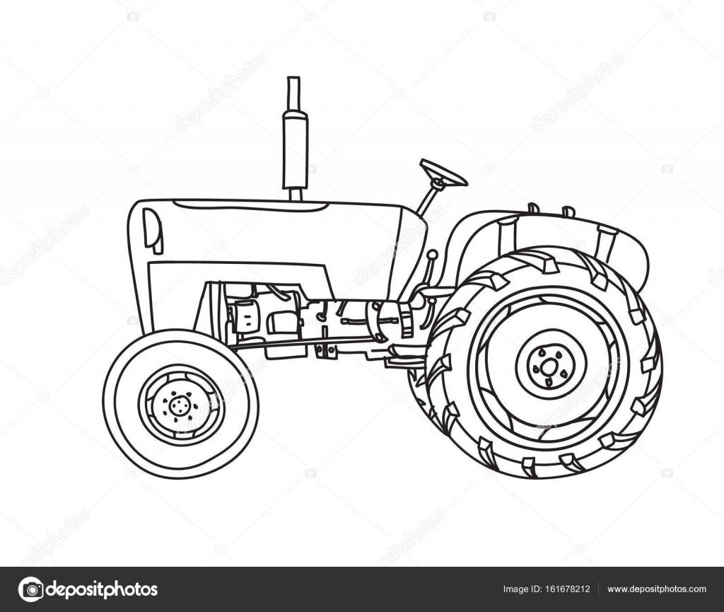 alte handgezeichneten Traktor Vintage niedlich Strichzeichnungen ...