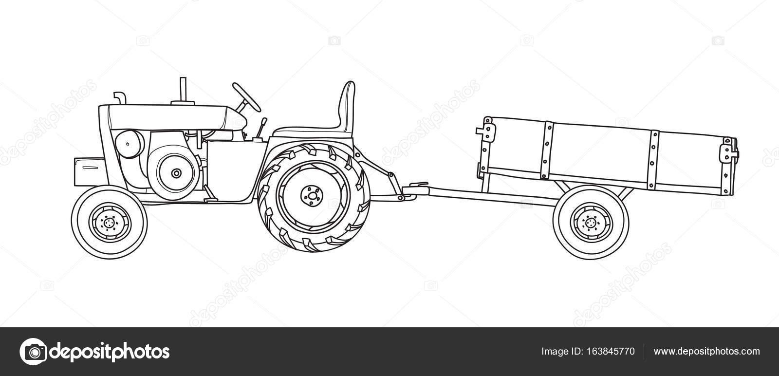 Starozitny Traktory Sklapeci Prives Vintage Rukou Kreslene Byly