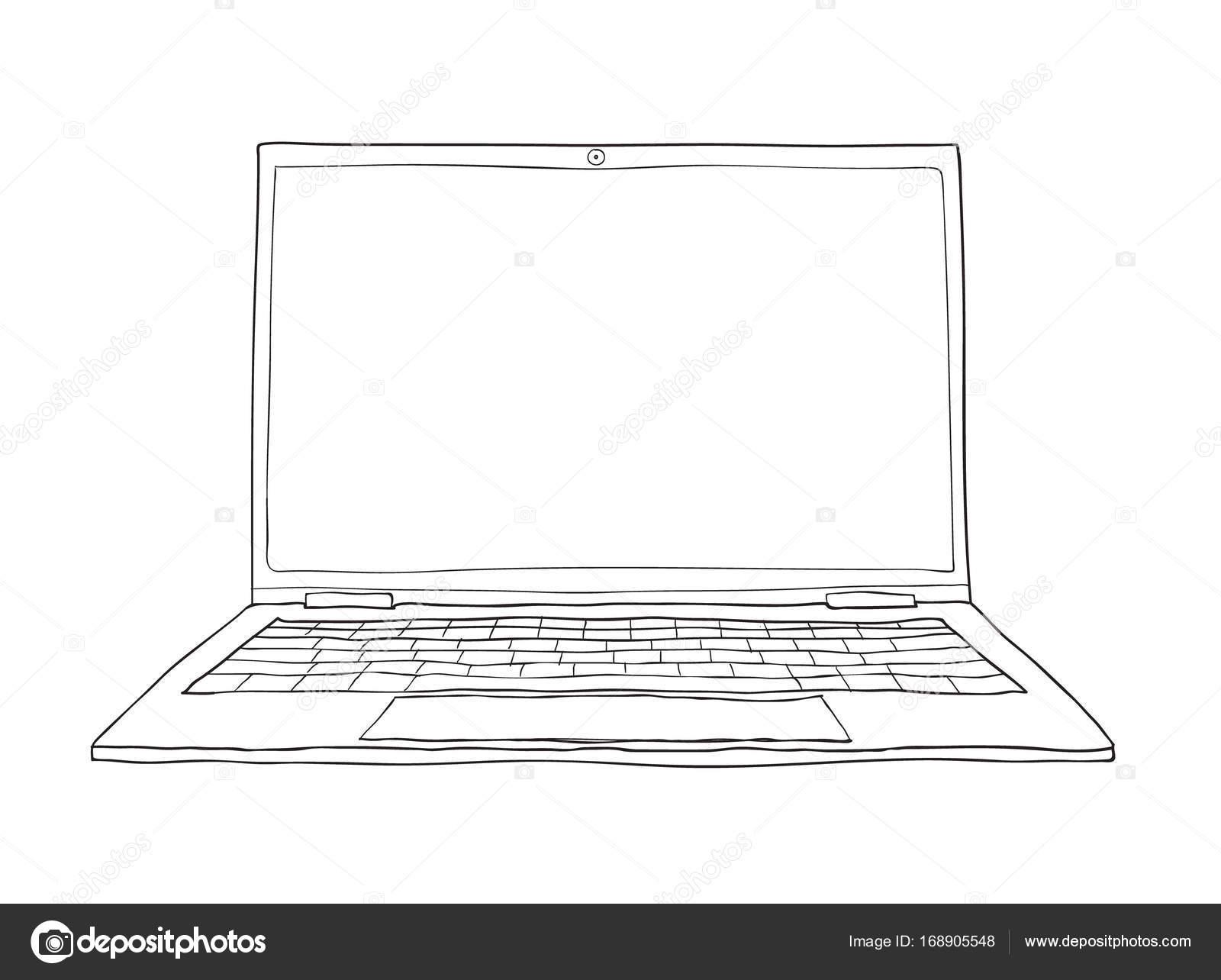 Line Art Laptop : Laptop hand drawn cute vector line art illustration u stock