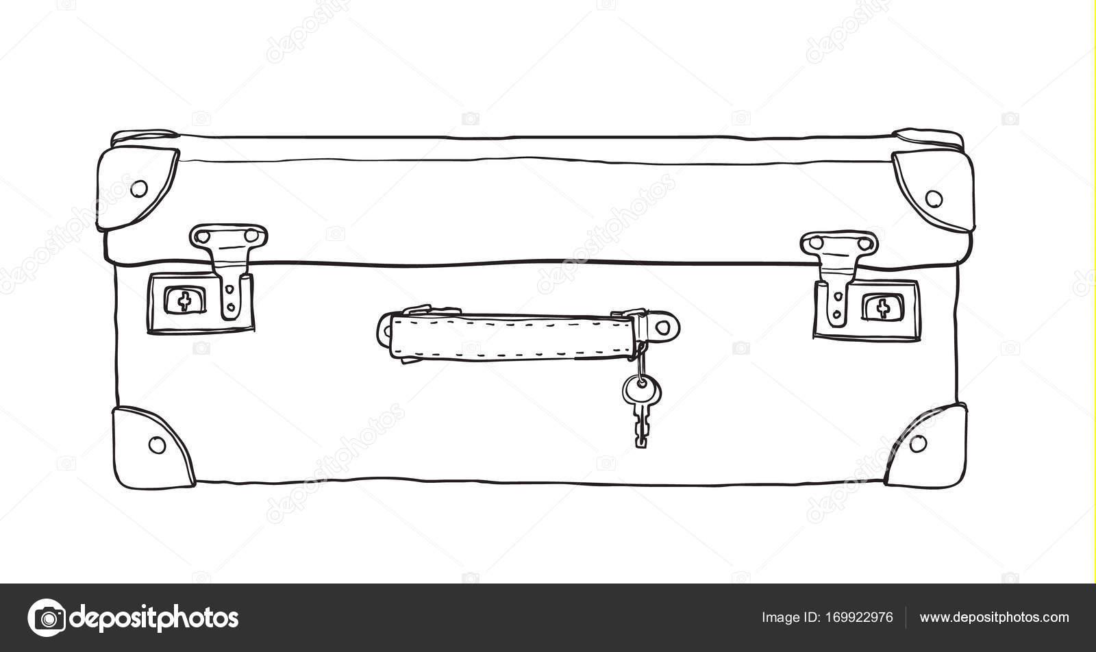 koffer vintage mit schlüssel handgezeichnet niedlichen