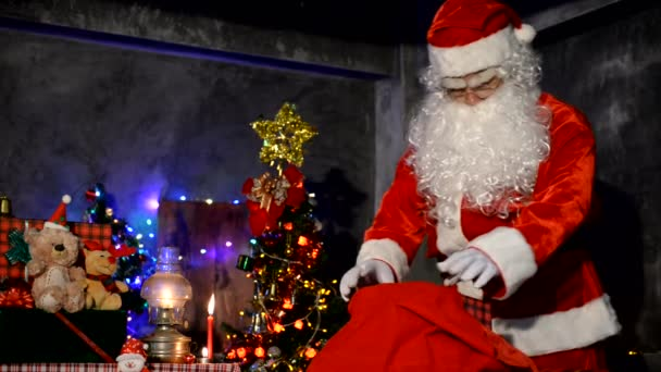 Santa Claus open red sack for looking, Merry christmas concept