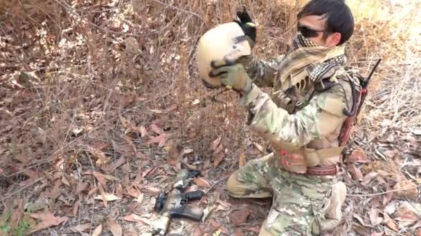 Soldier of special forces on war at desert during military operation