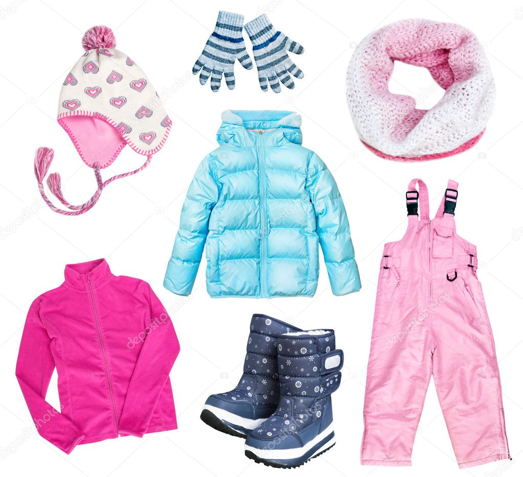 ba59fe2e22 Gyerekek téli ruházat divat beállítása. Gyermek ruhák kollázs a elszigetelt  fehér háttér. Modern divat elegáns meleg viselet kisgyermek — Fotó  szerzőtől ...