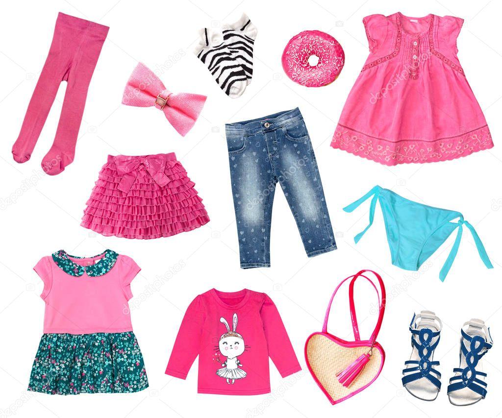 b8f7735d9f07 Bebé niño niña rosa ropa conjunto aislado en blanco. Look de verano  primavera niños ropa y accesorios prendas de vestir con estilo. — Foto de  NYS