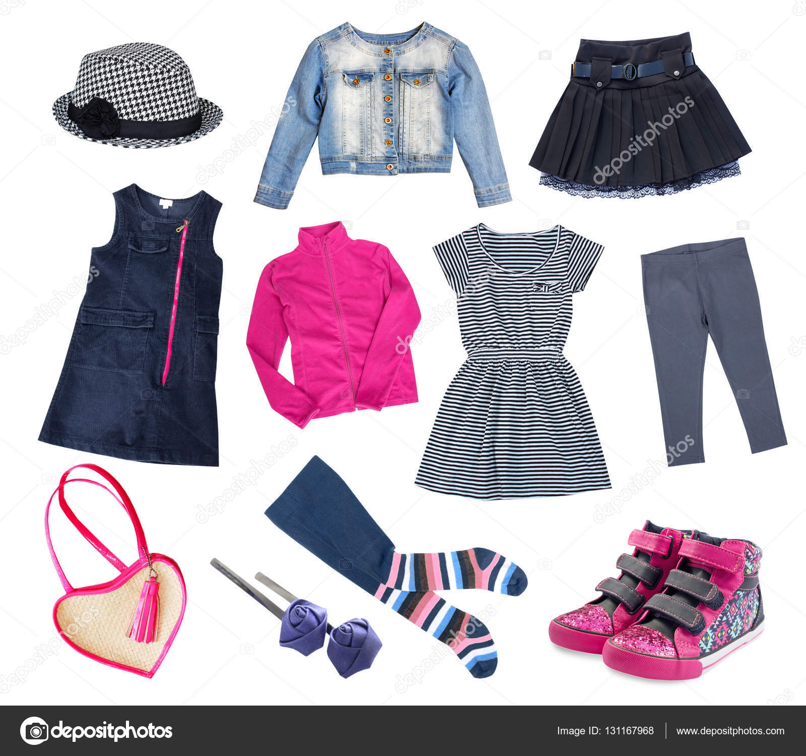 61c0507a2 Fashion kid girl clothes set isolated on white.Child girl modern bright  clothing collage.