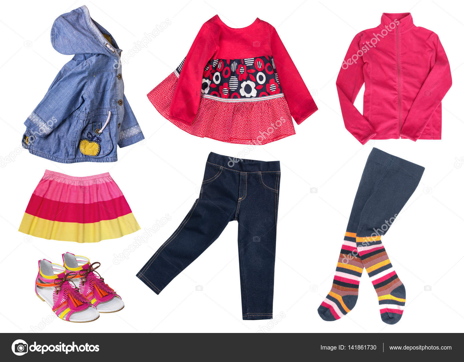 Bright modern fashion child girl clothes isolated — Stock