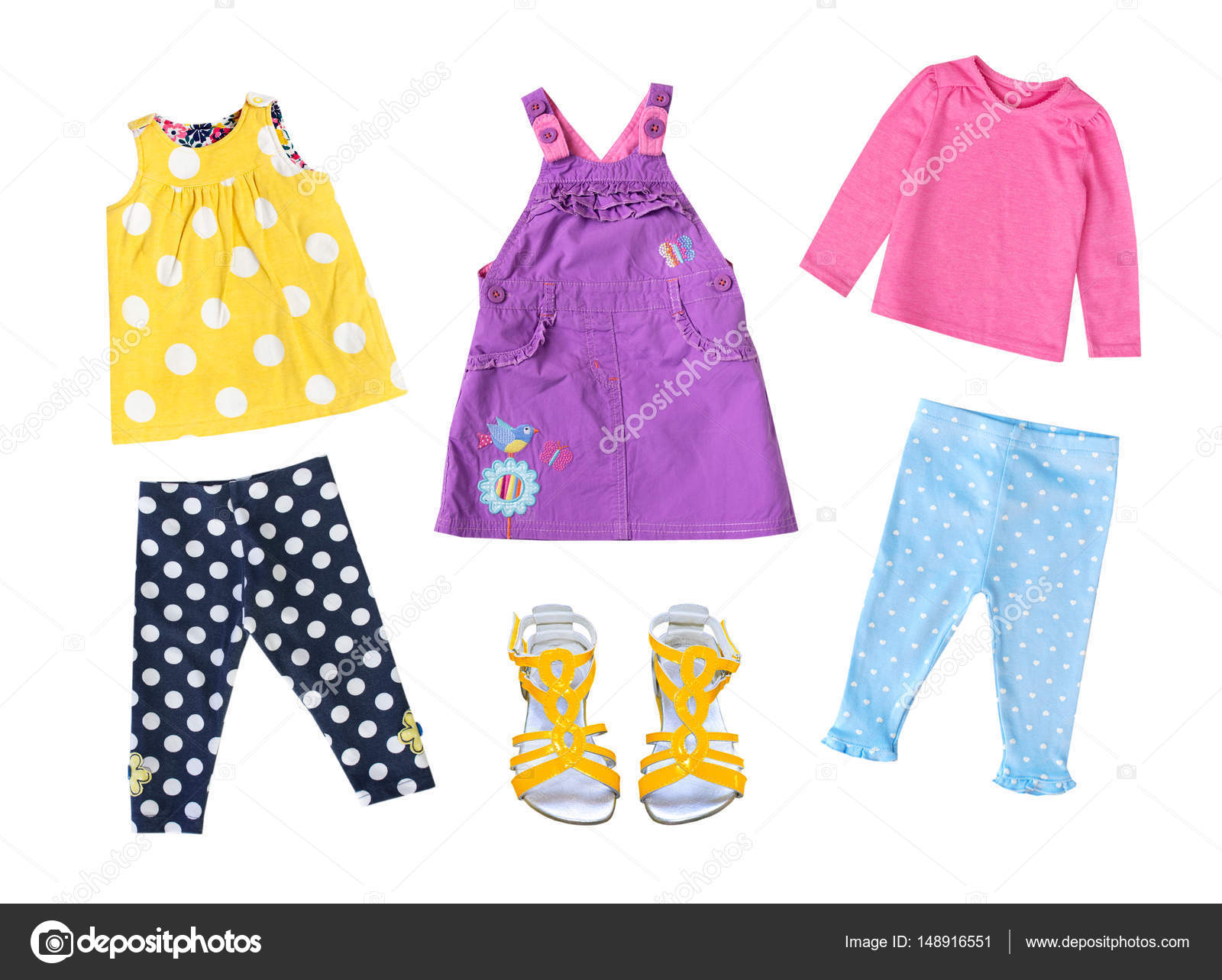 Fashion child girl modern bright clothing isolated — Stock