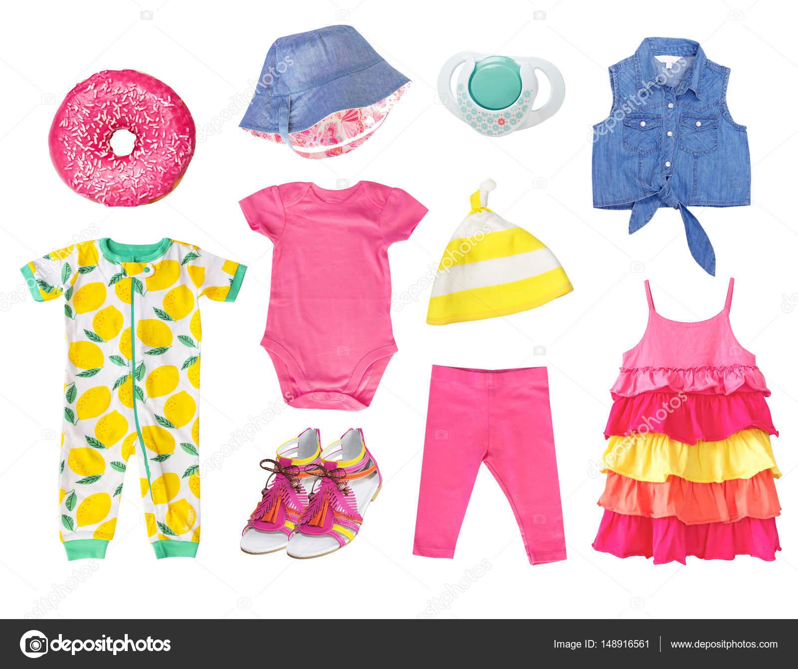 7ea533408 Roupas de verão bebê menina isolaram conjunto. Vestuário de criança de  colagem. Roupas brilhantes — Fotografia por ...