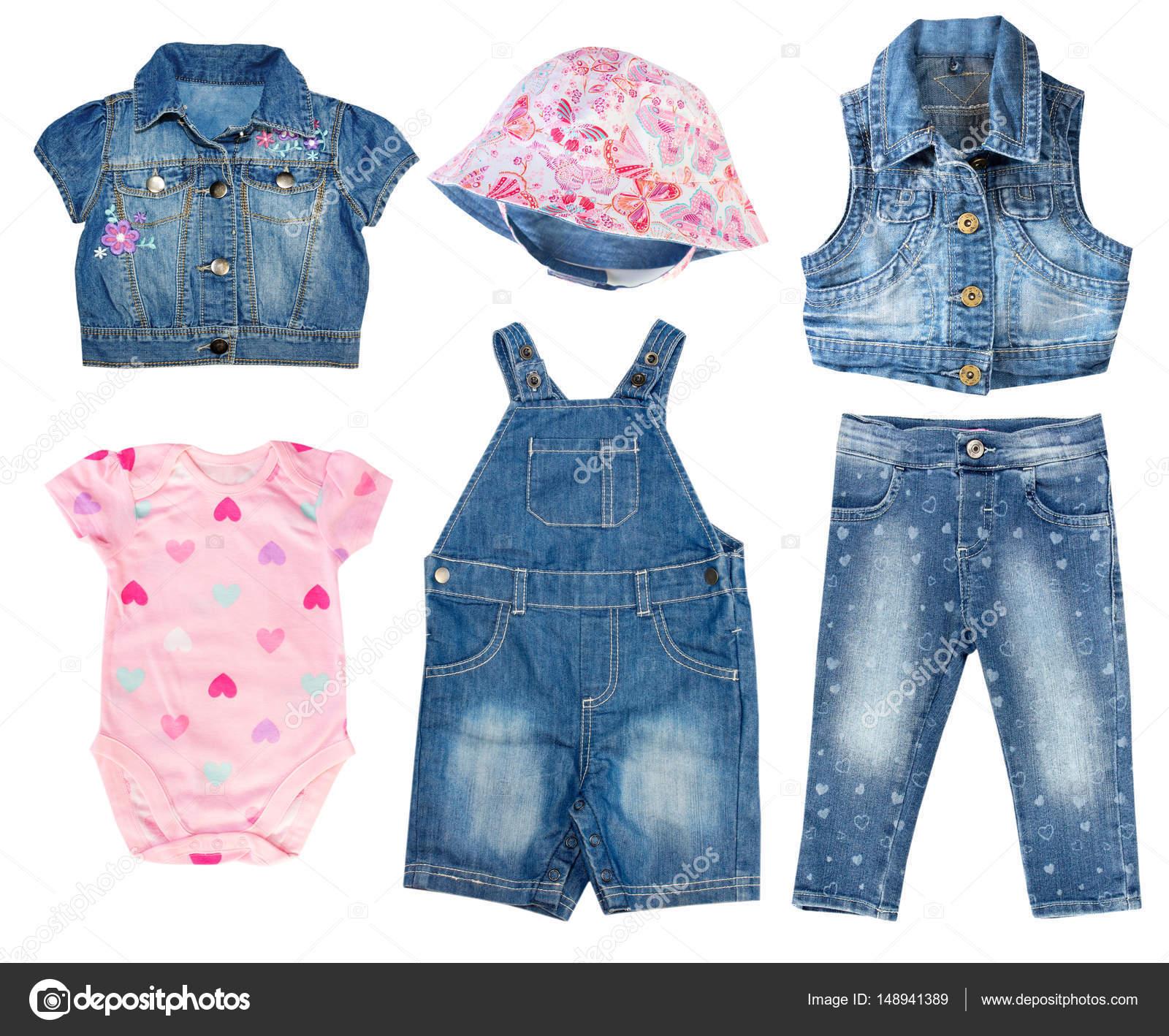 Moda denim set de ropa de bebé. Muchacha del niño collage ropa. Ropa de  niños. Pantalones vaqueros 48b6e57df4b3