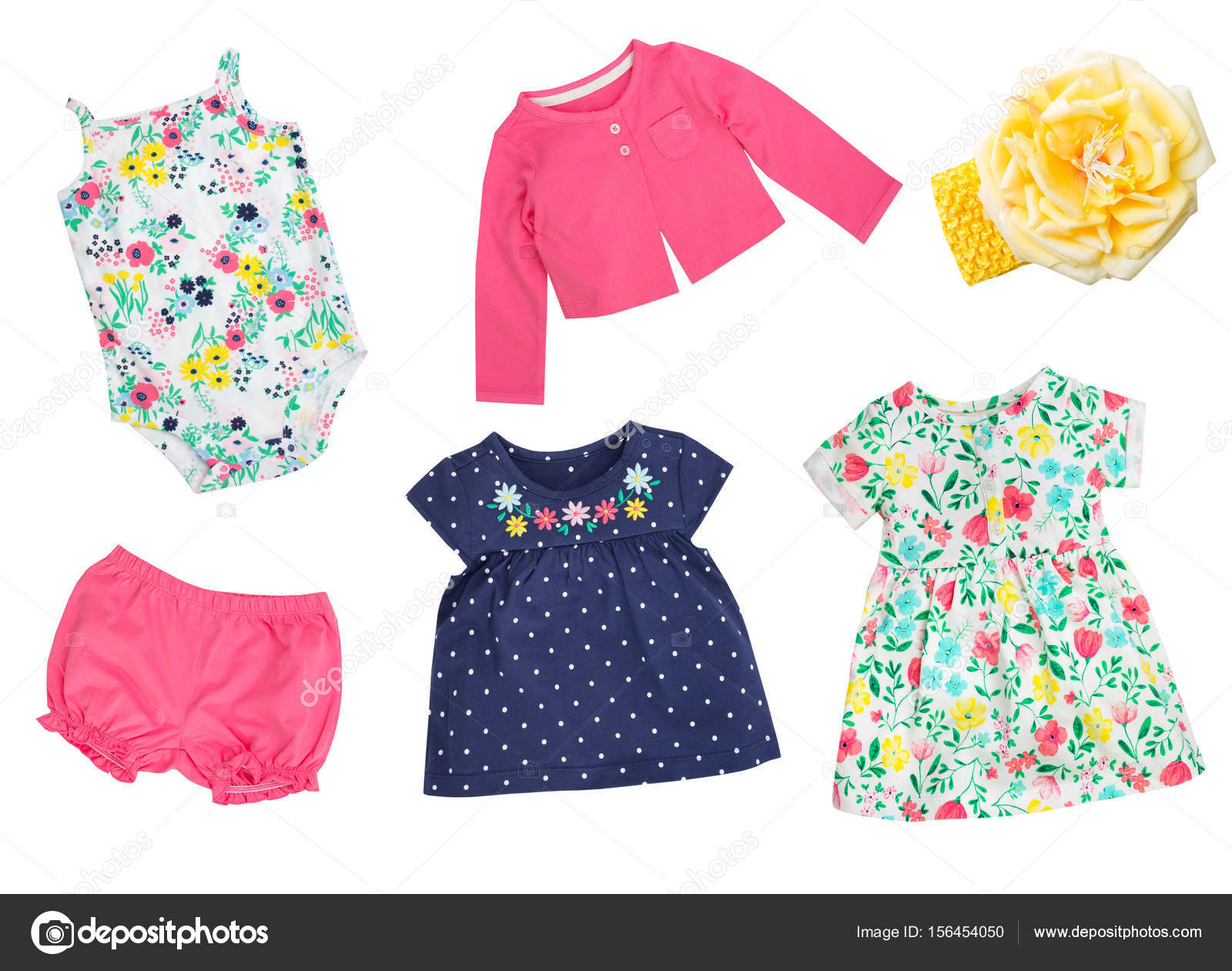 ade969aae2 Child's summer clothes collage isolated on white.Bright colorful kid girl  set of wear.