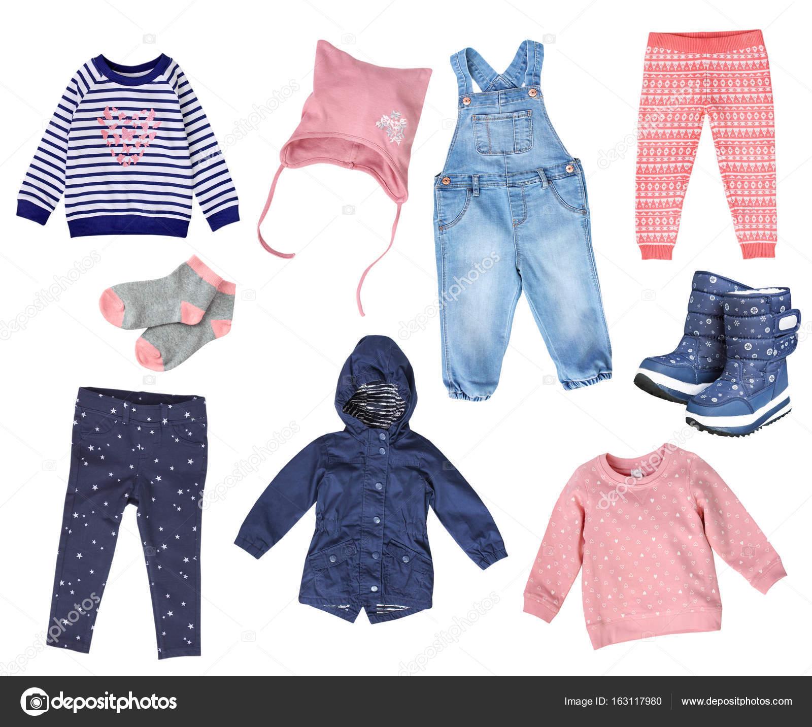 74da0ff81434 Imágenes: ropa | Collage de ropa niña niño aislado — Foto de stock ...