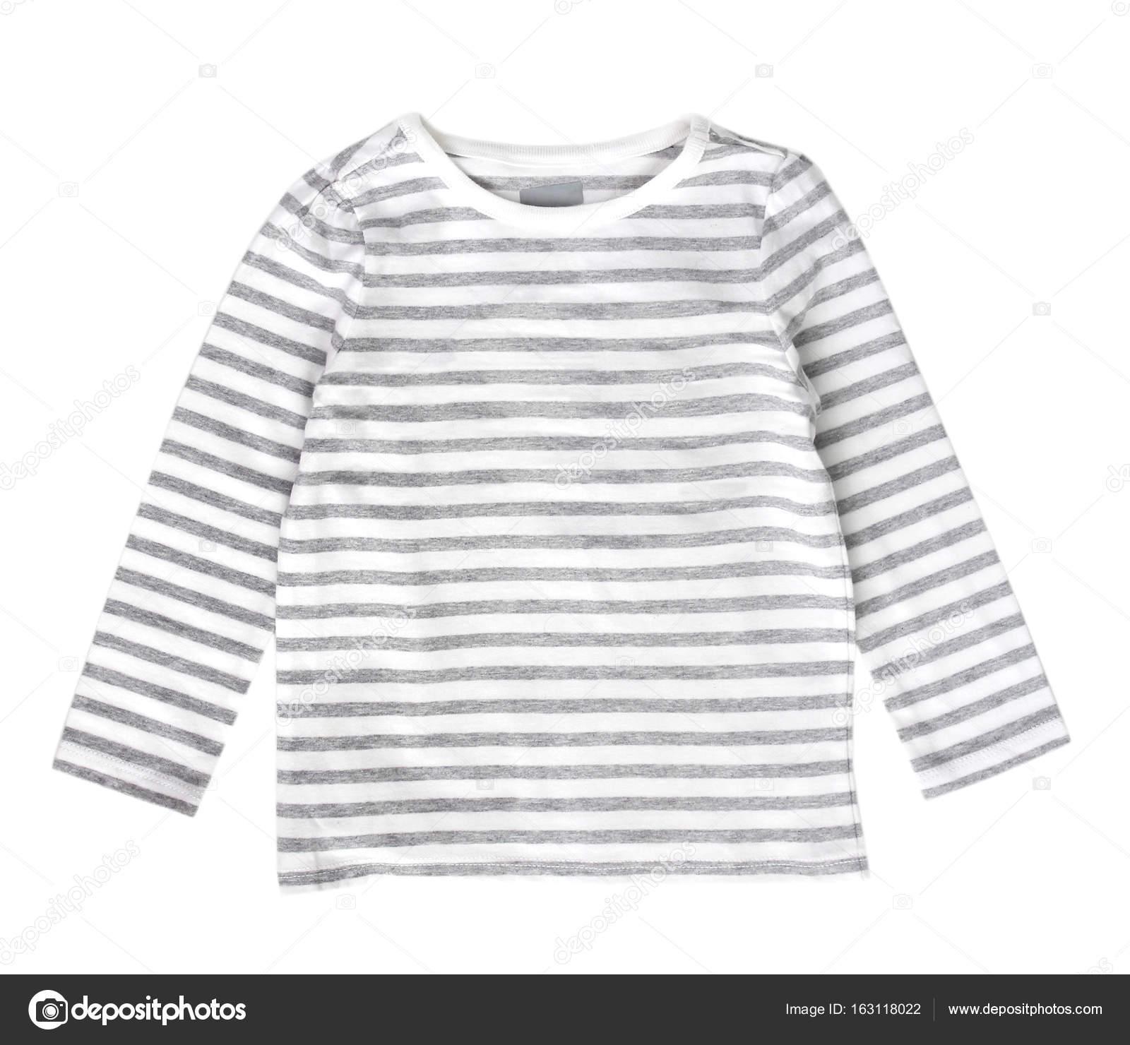 982d3383f7d Camisa blanca a rayas aislada en blanco. Ropa de moda actual neautral bebé  — Foto de ...