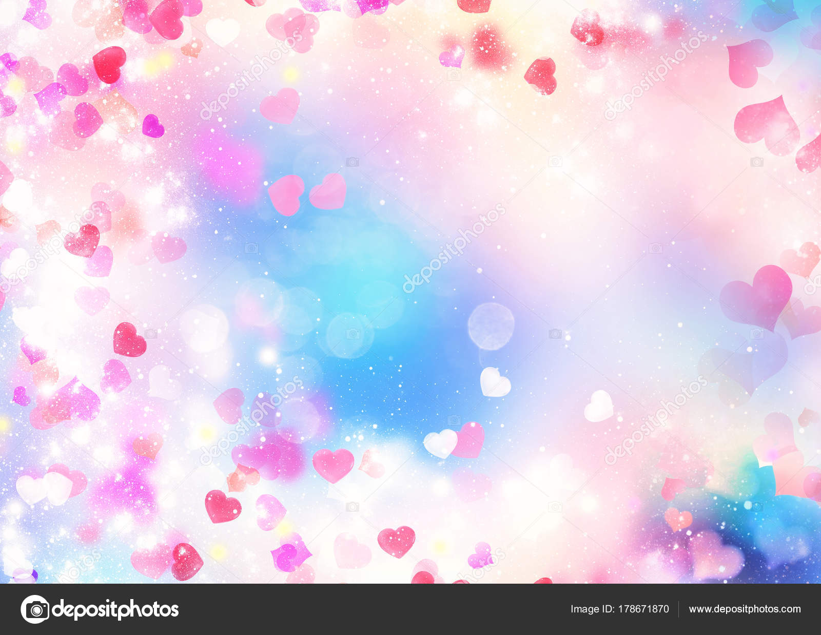 Valentines Day Blurred Background Hearts Illustration Stock Photo