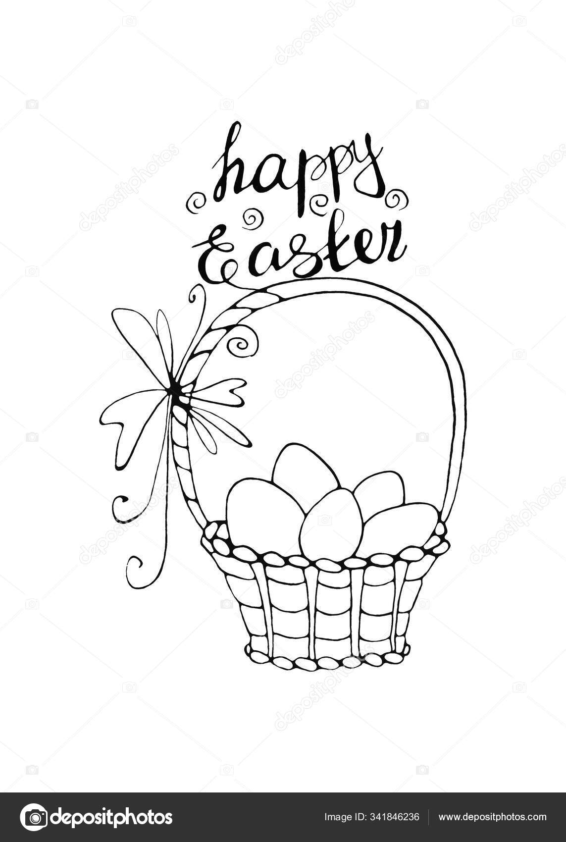 - Happy Easter. Outline Basket With Eggs And Tulip Flowers. Design