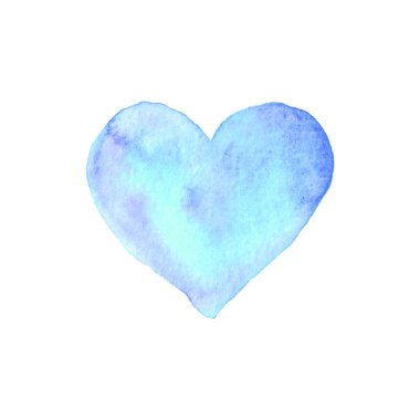 Watercolor big blue Heart love. Valentines day background texture. Hand drawn