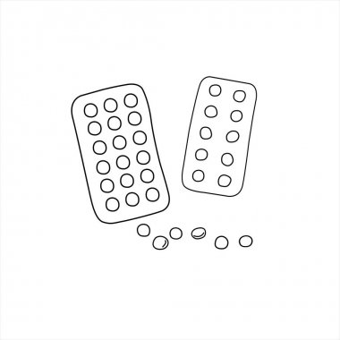 Simple Doodle medicine packing of pills, tablets, capsules isolated on white background. Vector EPS10 illustration. Health and care. Design for clinics, hospitals, pharmacies, medical poster. icon