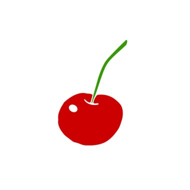 Simple flat color red cherry icon isolated on white background. Symbol summer, crop, fruitful year, berries. Hand drawn vector EPS10 illustration.
