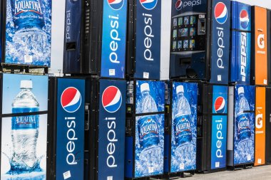 Fort Wayne - Circa April 2017: Pepsi and PepsiCo Vending Machines Awaiting Repair. Pepsi is one of the largest beverage producers in the world II