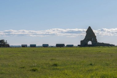 field with Saint Birgittas chapel ruin on the background. in the spring in Oland, Sweden