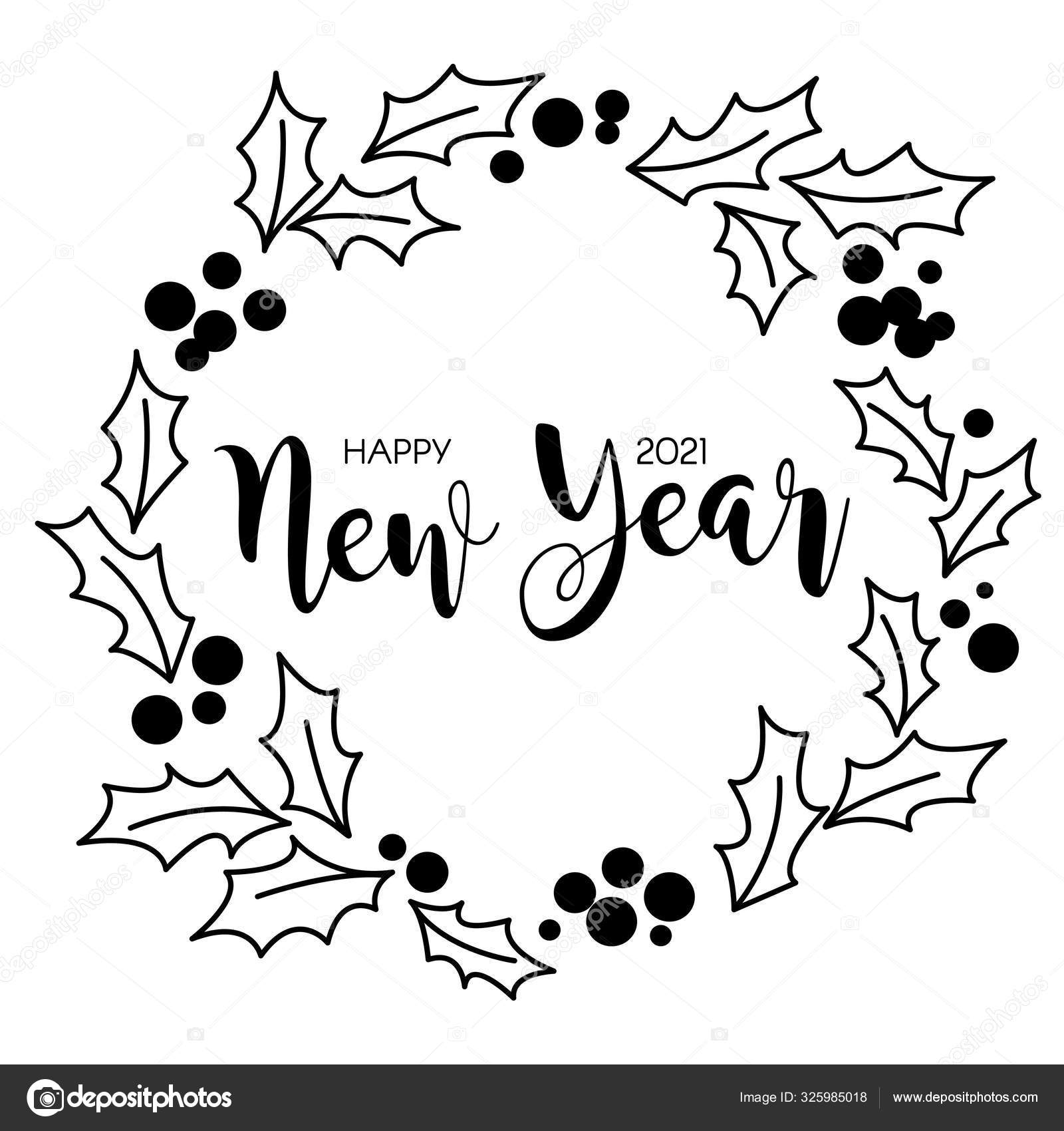 Happy New Year 2021 Christmas Wreath Isolated Stock Vector C Irchiknaz Gmail Com 325985018
