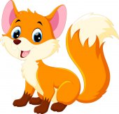 Photo Cute baby fox cartoon