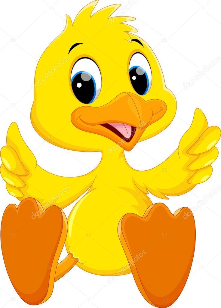 Cute baby duck cartoon thumb — Stock Vector © irwanjos2 ...