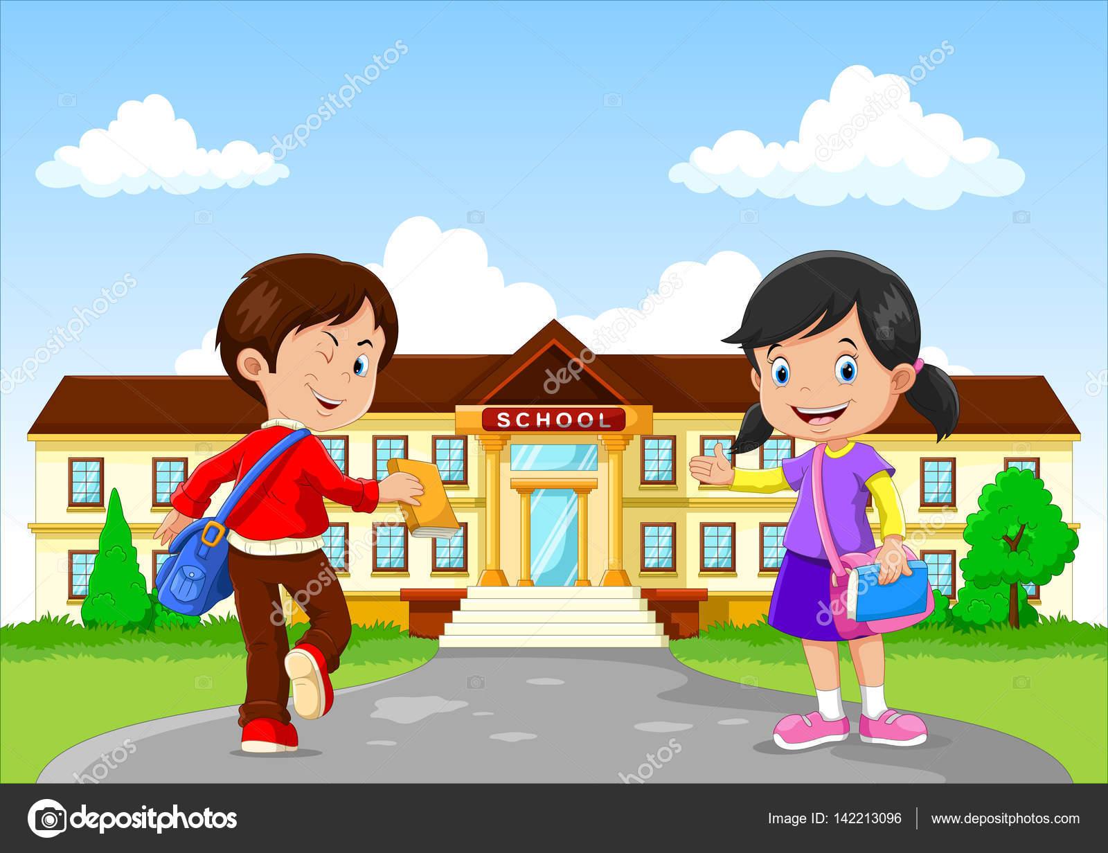 d3b24366d9 Εικονογράφηση διάνυσμα ευτυχισμένη λίγο τα παιδιά και τσάντες και βιβλία  για το σχολικό κτίριο φόντο — Διάνυσμα με ...