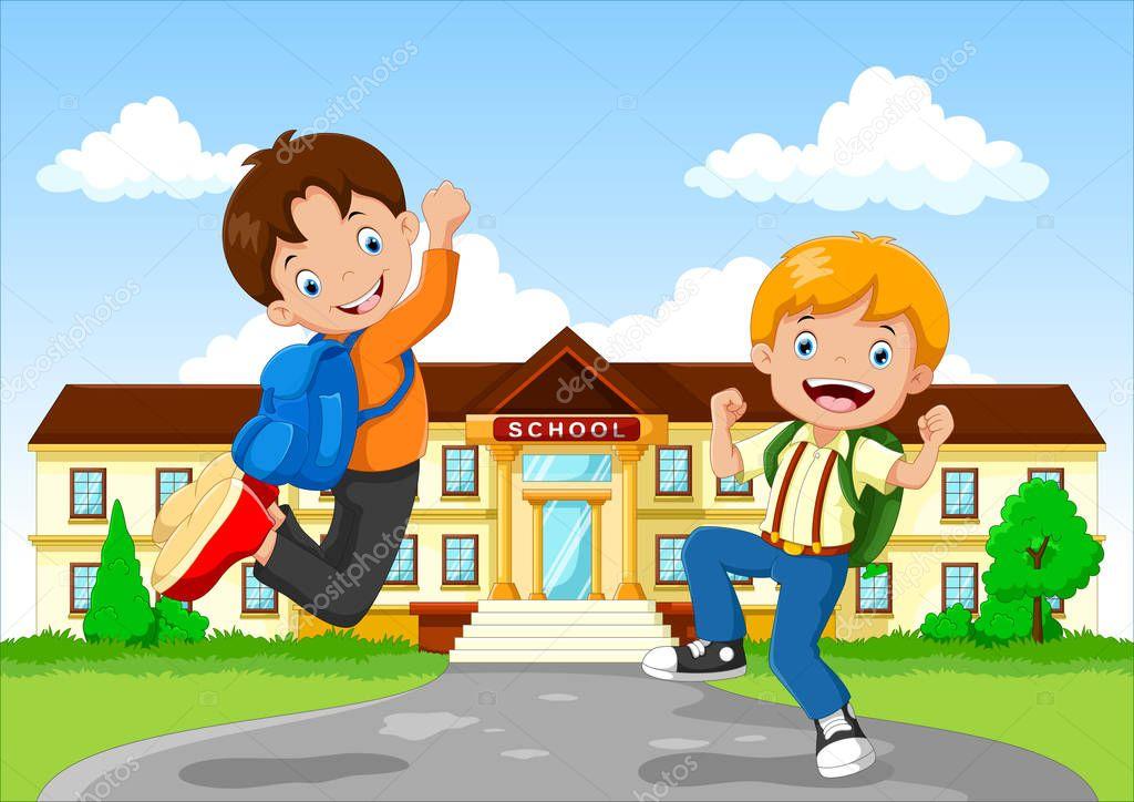 3c8494c634 Ευτυχισμένο παιδάκι στο σχολικό κτίριο φόντο — Διανυσματικό Αρχείο ©  irwanjos2  142213240