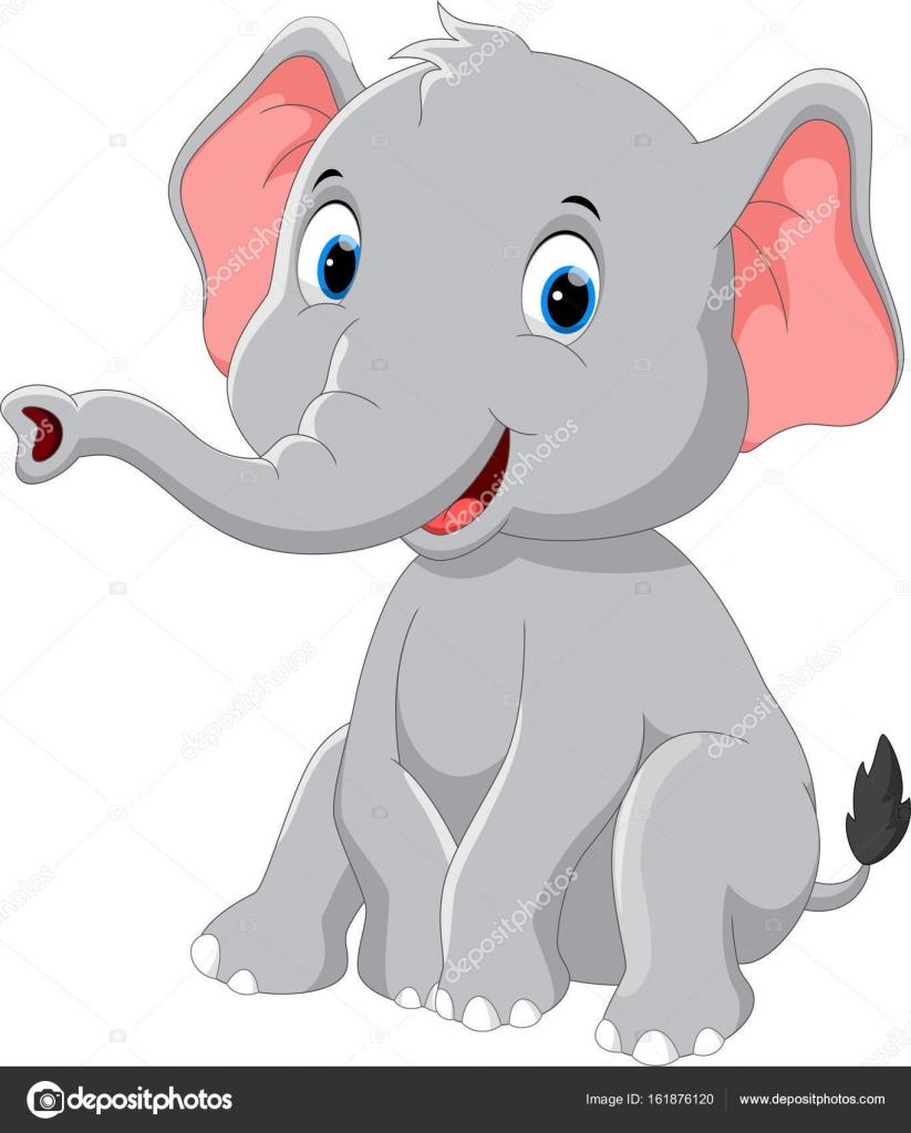 happy elephant cartoon sitting u2014 stock vector irwanjos2 161876120