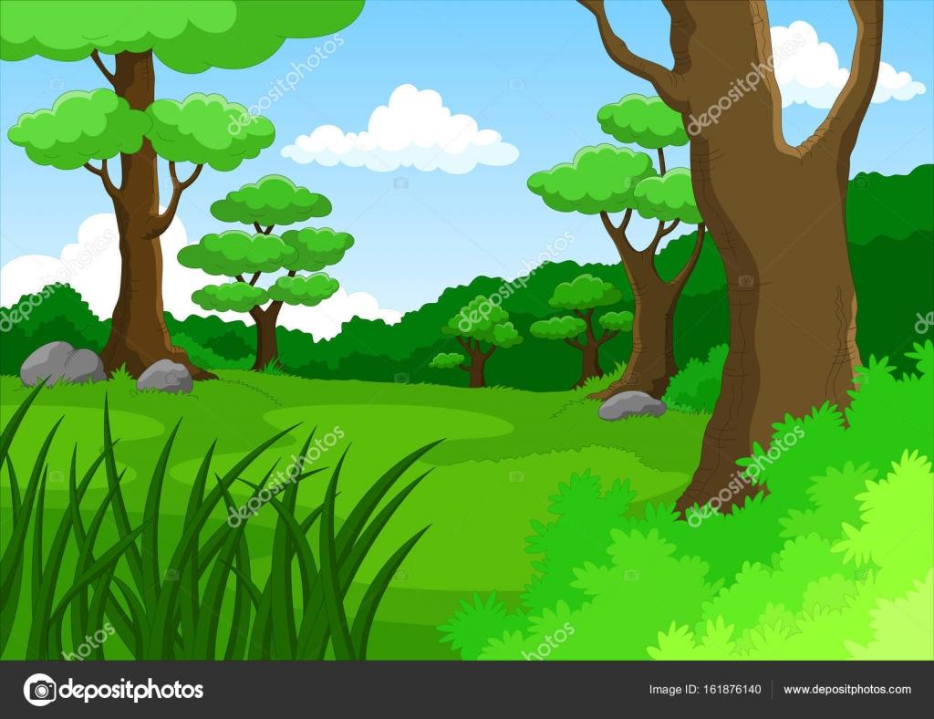 jungle background cartoon stock vector irwanjos2 161876140 rh depositphotos com jungle background cartoon clipart jungle cartoon background free