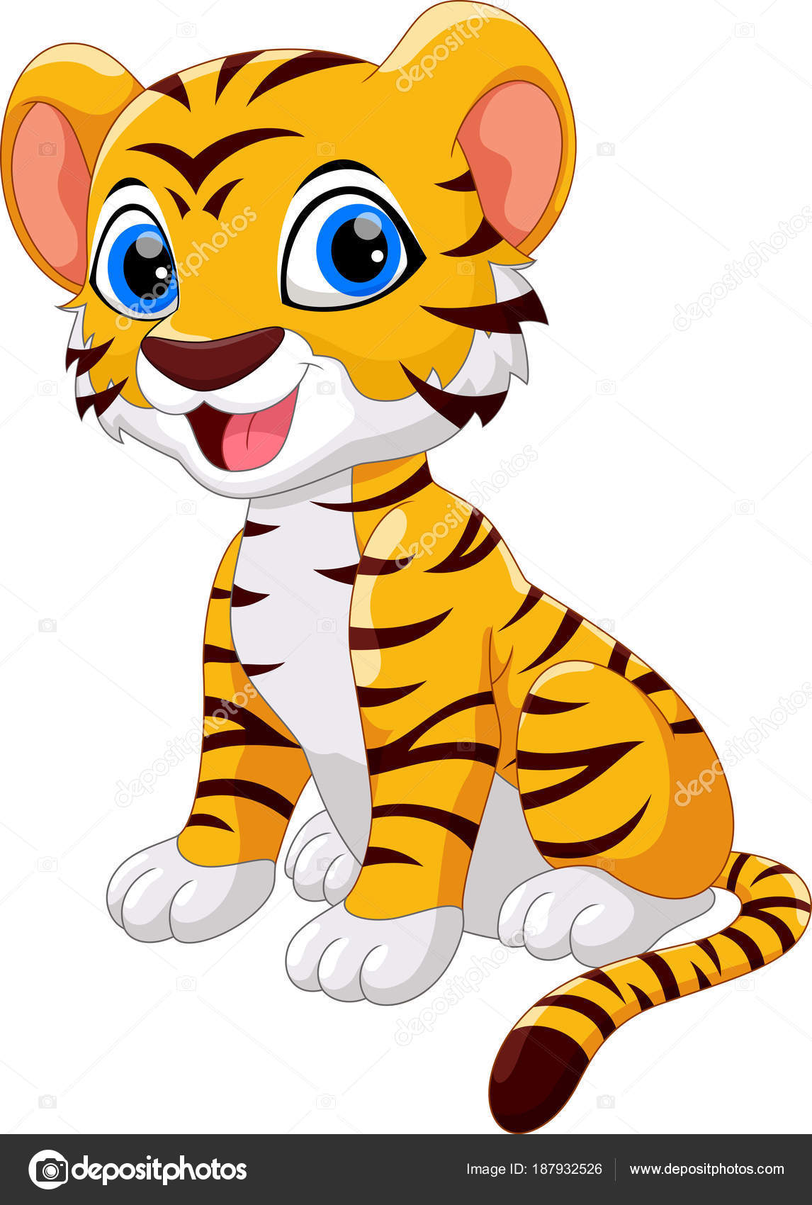 Animado Tigre Blanco Bebe Sesión Dibujos Animados Lindo