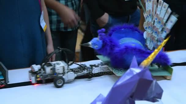 Robot projects on presentation table
