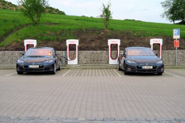 Tesla electric car recharge in Innsbruck, Austria