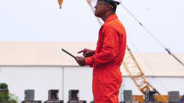 Engineer  checking  containers. Profession