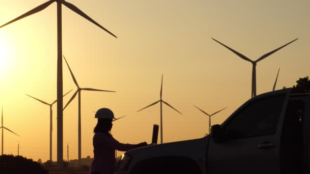 The engineer is investigating the faulty wind turbine system footage 4K