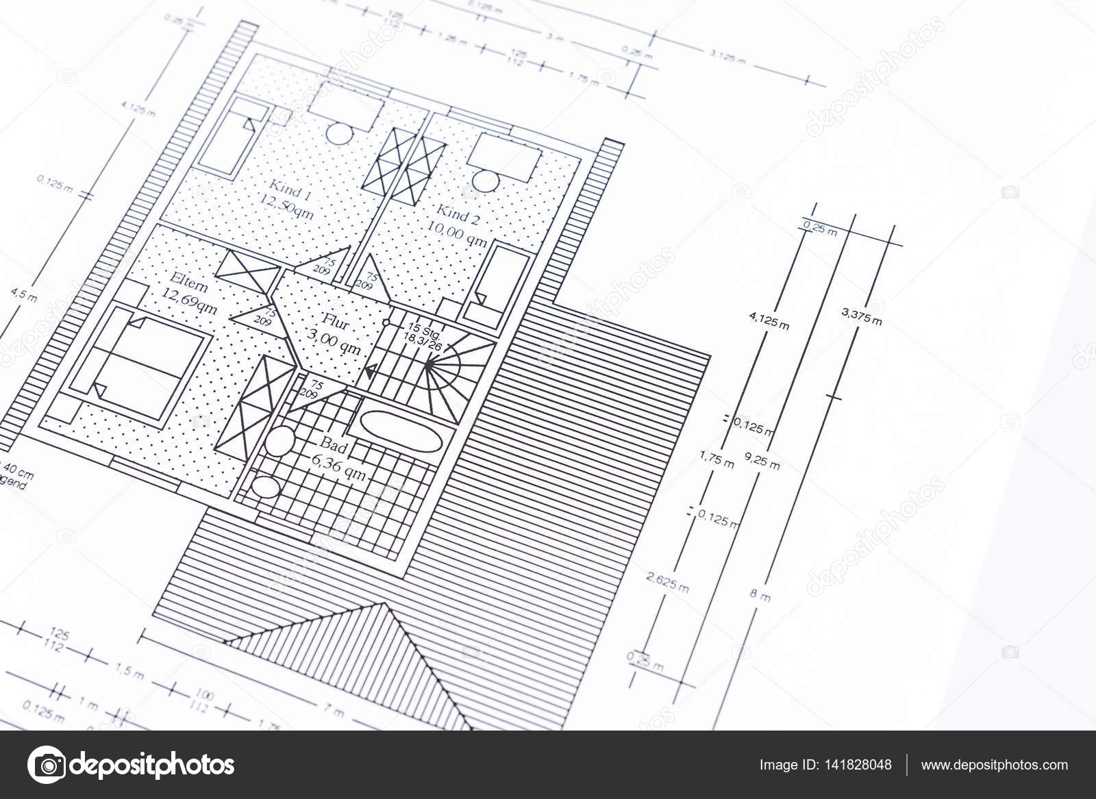 Architects blueprint for the construction of a new house stock architects blueprint for the construction of a new house stock photo malvernweather Gallery