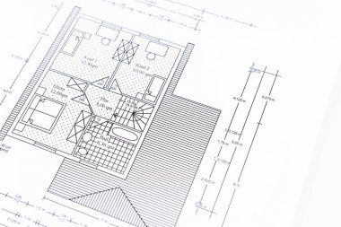 Architects blueprint for the construction of a new house