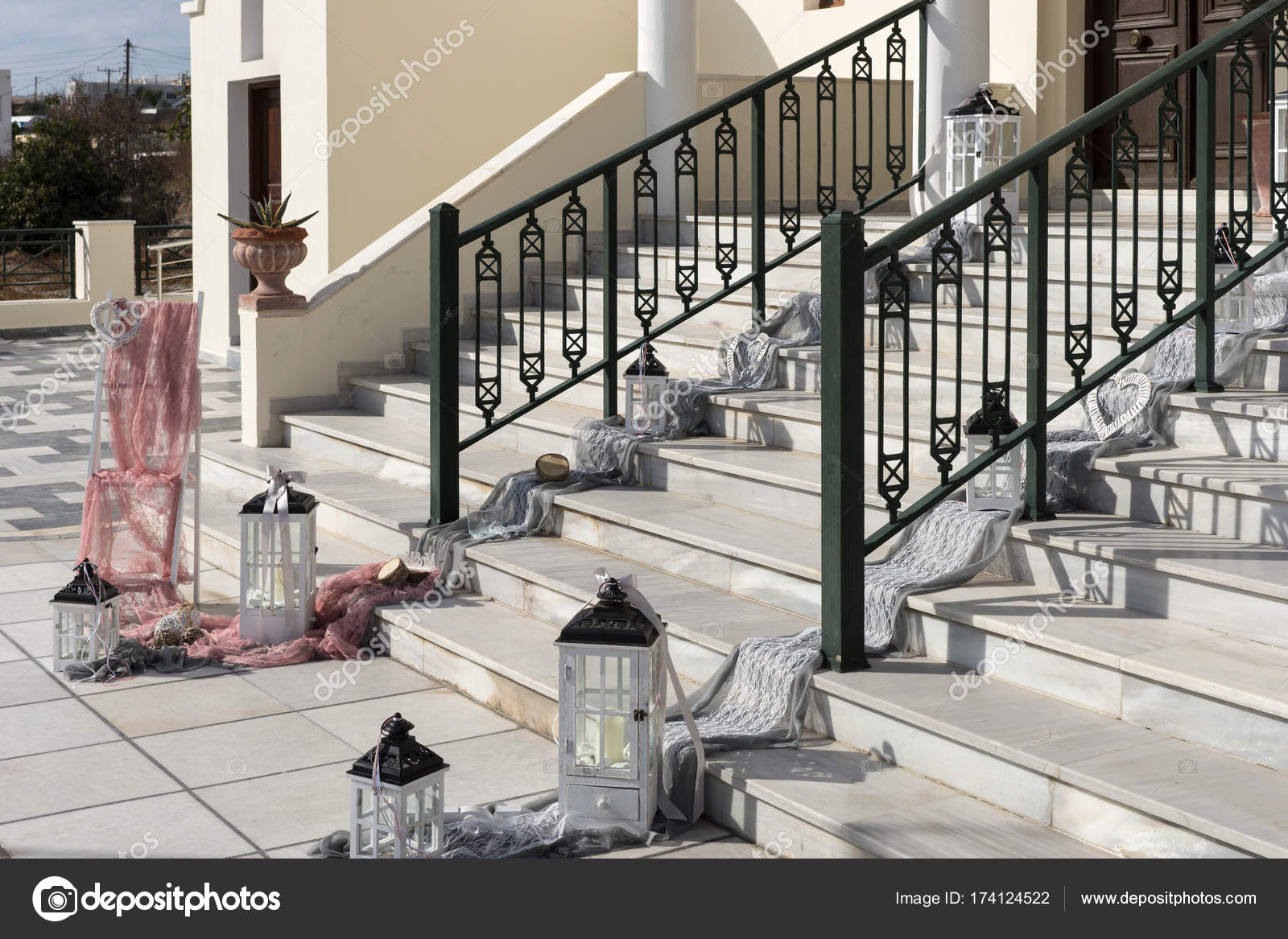 Wedding decoration on the stairs to the church stock photo wedding decoration on the stairs to the church stock photo junglespirit Image collections