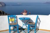 Mediterranean terrace with amazing view of sea and Caldera on Santorini Island