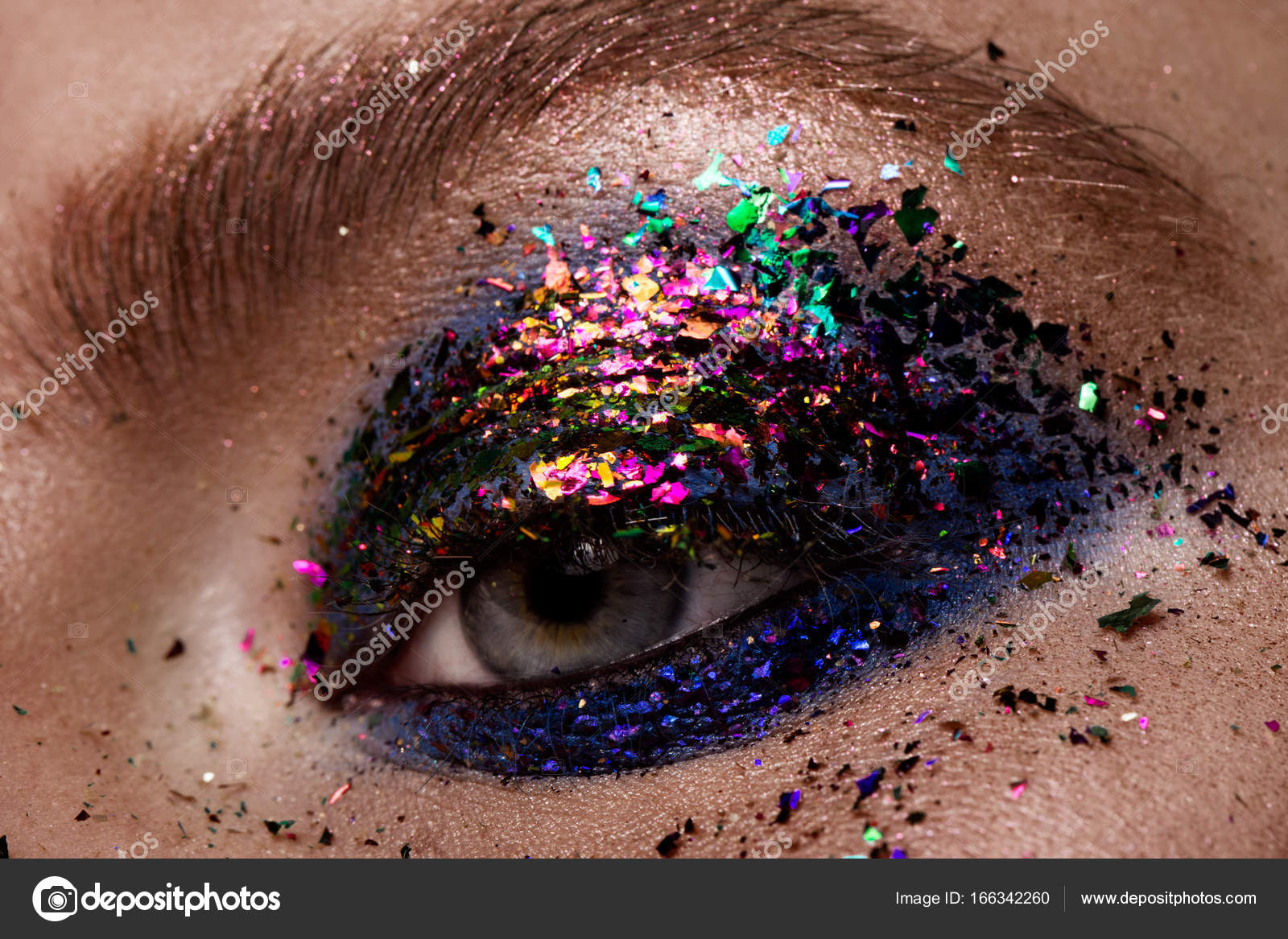 Eye Makeup Beautiful Eyes Glitter Make Up Stock Photo