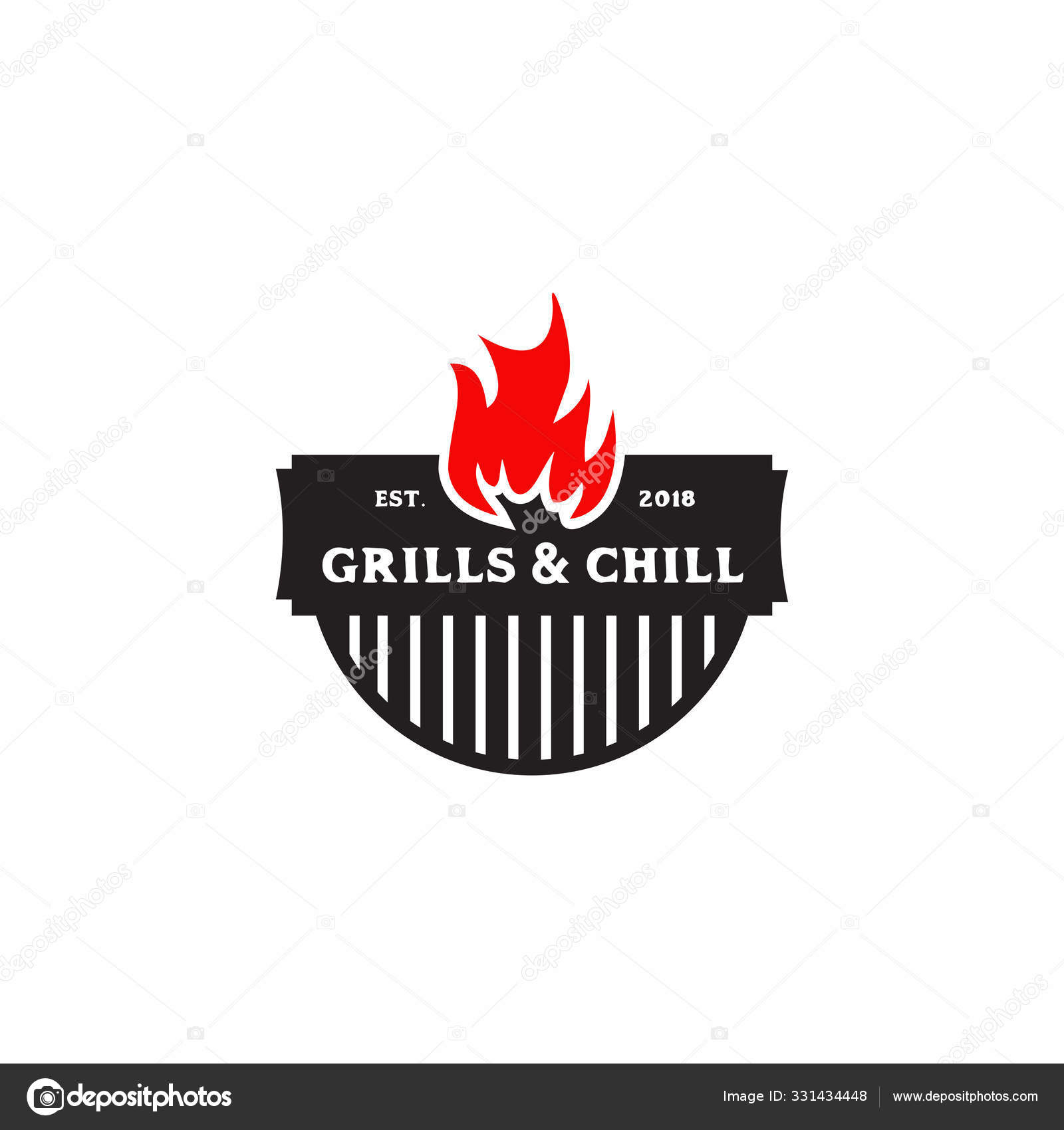 Grills Barbeque Restaurant Logo Design Template Stock Vector C Doublerdesign 331434448