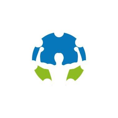 Physical therapy icon logo design vector template