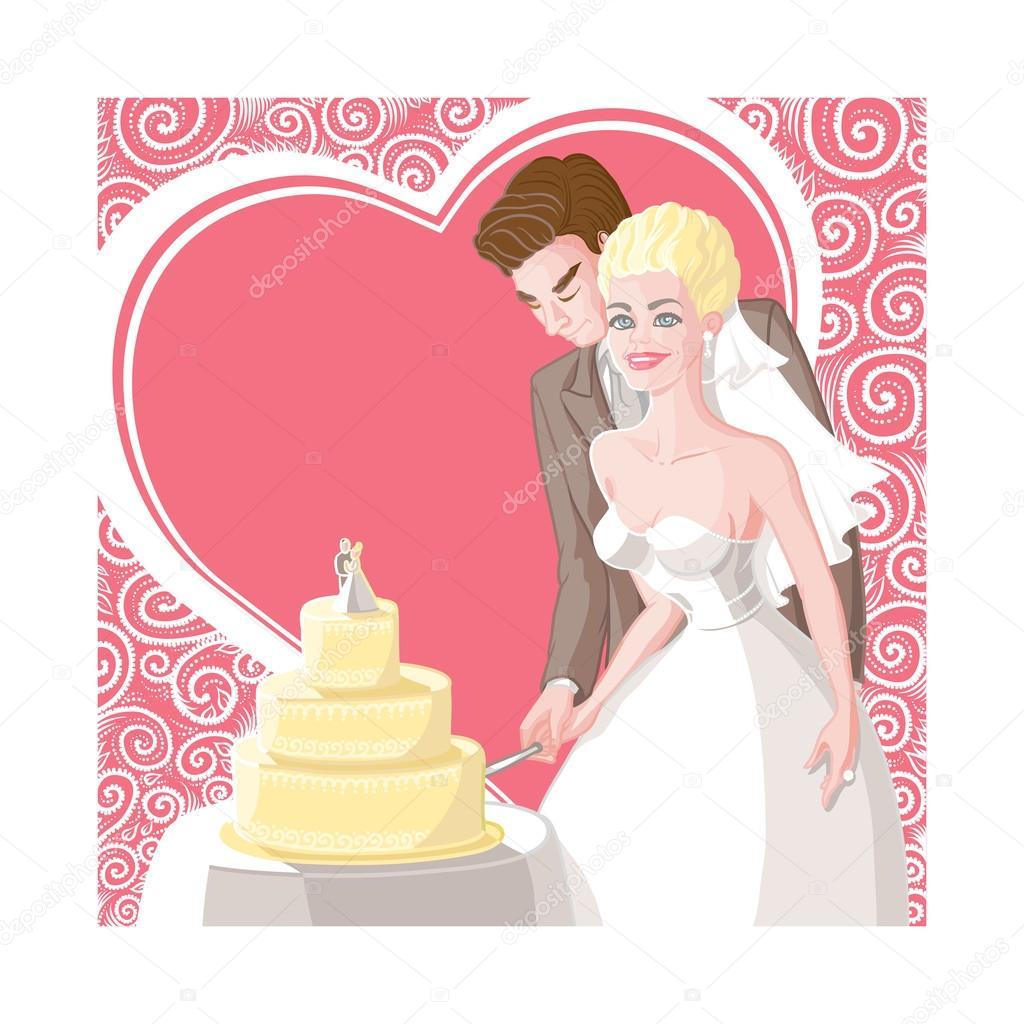 novio, la novia y la boda de la tarjeta cortan la torta — Archivo ...