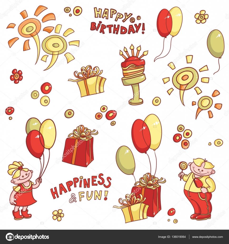 födelsedagshälsning tecknade vektor uppsättning objekt för födelsedagshälsning, kul  födelsedagshälsning