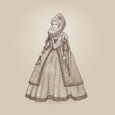 Vector vintage illustration. Gentlewoman Elizabethan epoch 16th century. Medieval lady in a rich dress with large collar